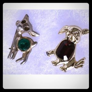 Tiny Vintage Pins, Gold Tone Deer & Puppy